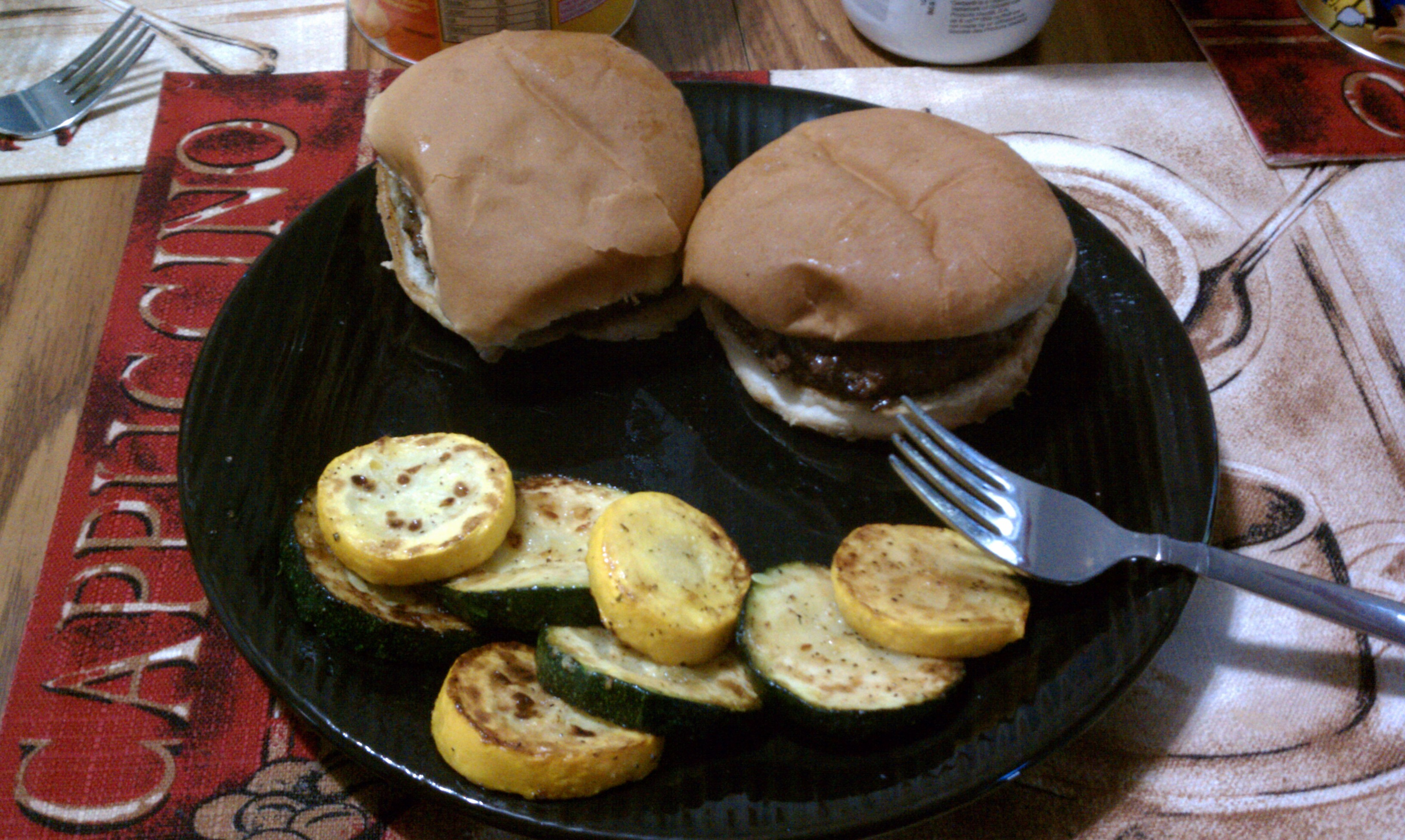 new britain ct :: memorial day burgers with green/yellow squash