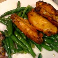 really buttery over cooked green-beans with some chickn wing things!!!  I like green beans!!