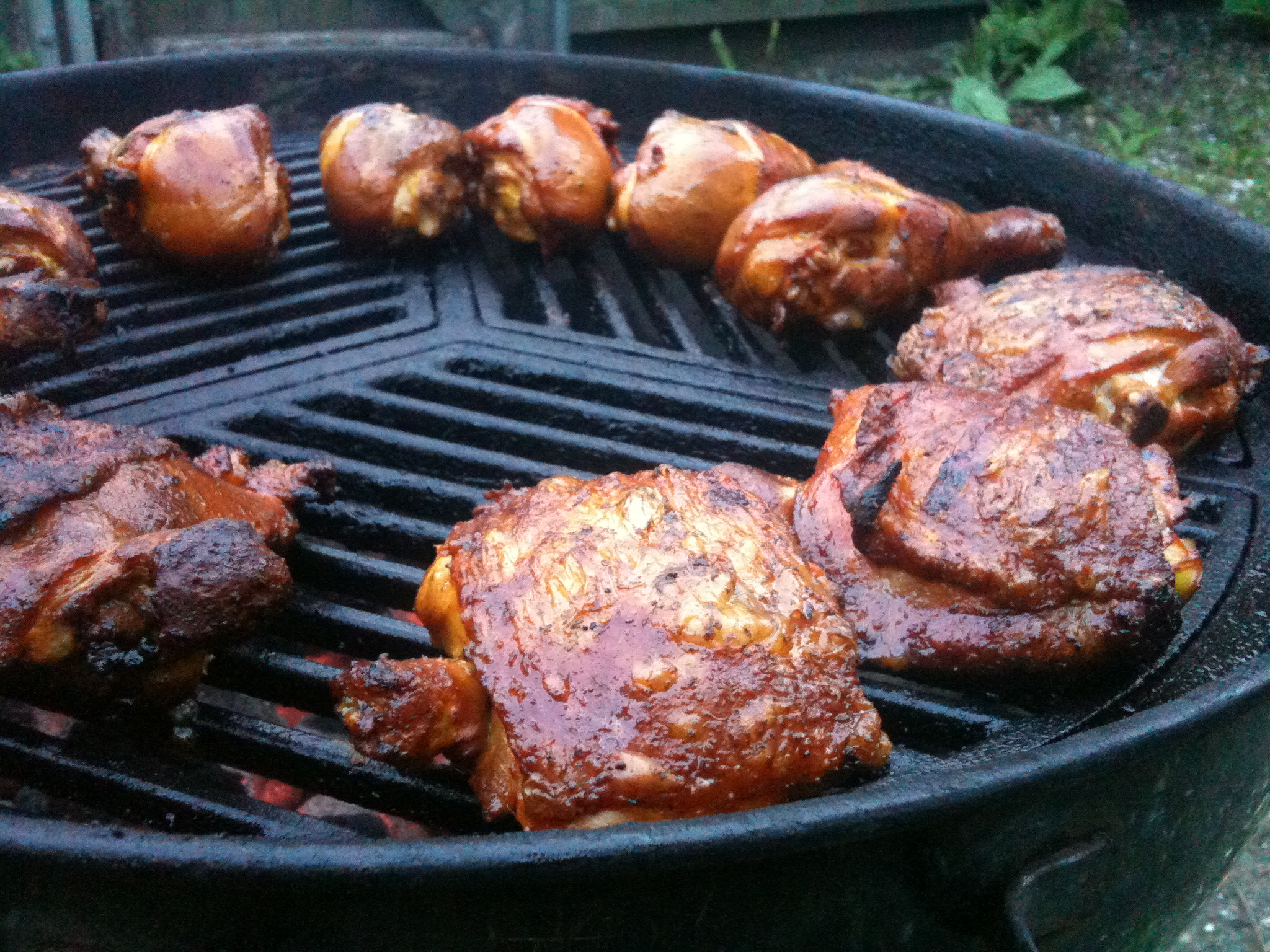 My back-yard :: Sazon and Adobo seasoned chicken - grilled to perfection.