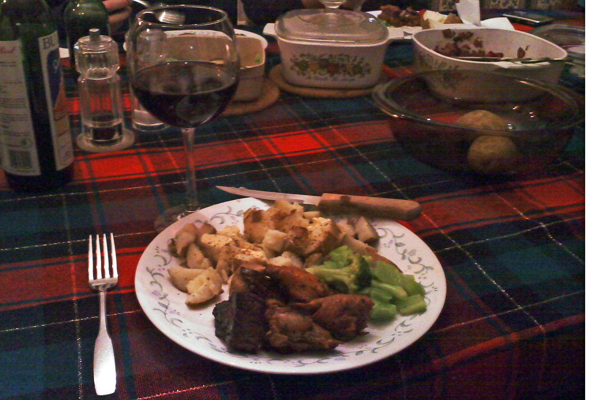House, Milford, NH :: Teriyaki Chicken, Teriyaki Steak, Baked Potatoes and Butter, Broccoli, Salad, and Red Wine