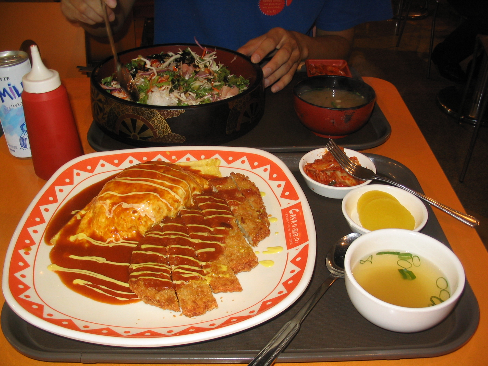 "Seoul, Korea :: Here is a meal from one of my favorite places in Seoul at the World Cup Mall. It's also Tonkatsu, or in Korea Dunkasu, with a tomato sauce on top. The egg is an omellete filled with rice (quite popular in Korea) and of course there is kimchi. My friend was eating some sort of sushi salad. The drink ""Milkis"" is a carbonated milk drink, actually really good."