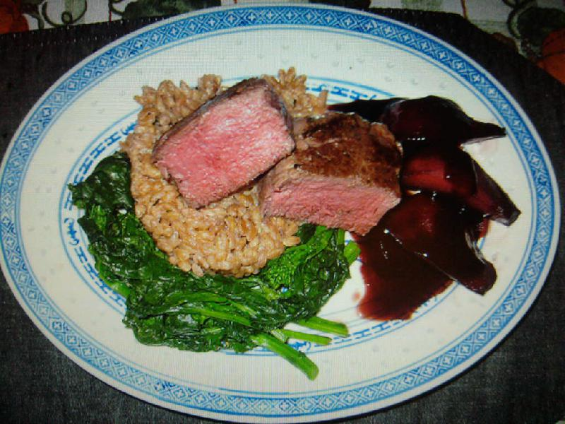 eastern ct :: beef tenderloin with farrow,broccoli rabe and port wine poached pears