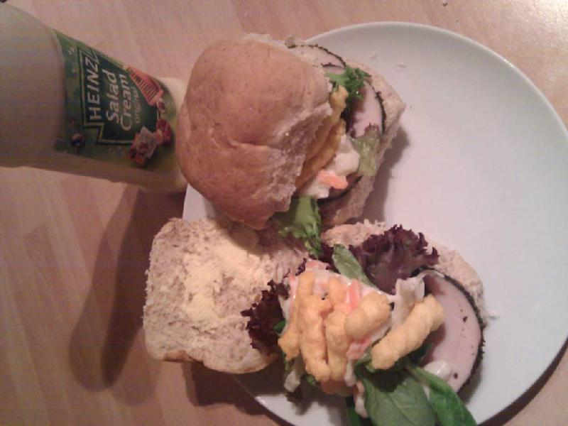 manchester uk :: chicken, lettuce, coleslaw and crisp sandwiches mmm