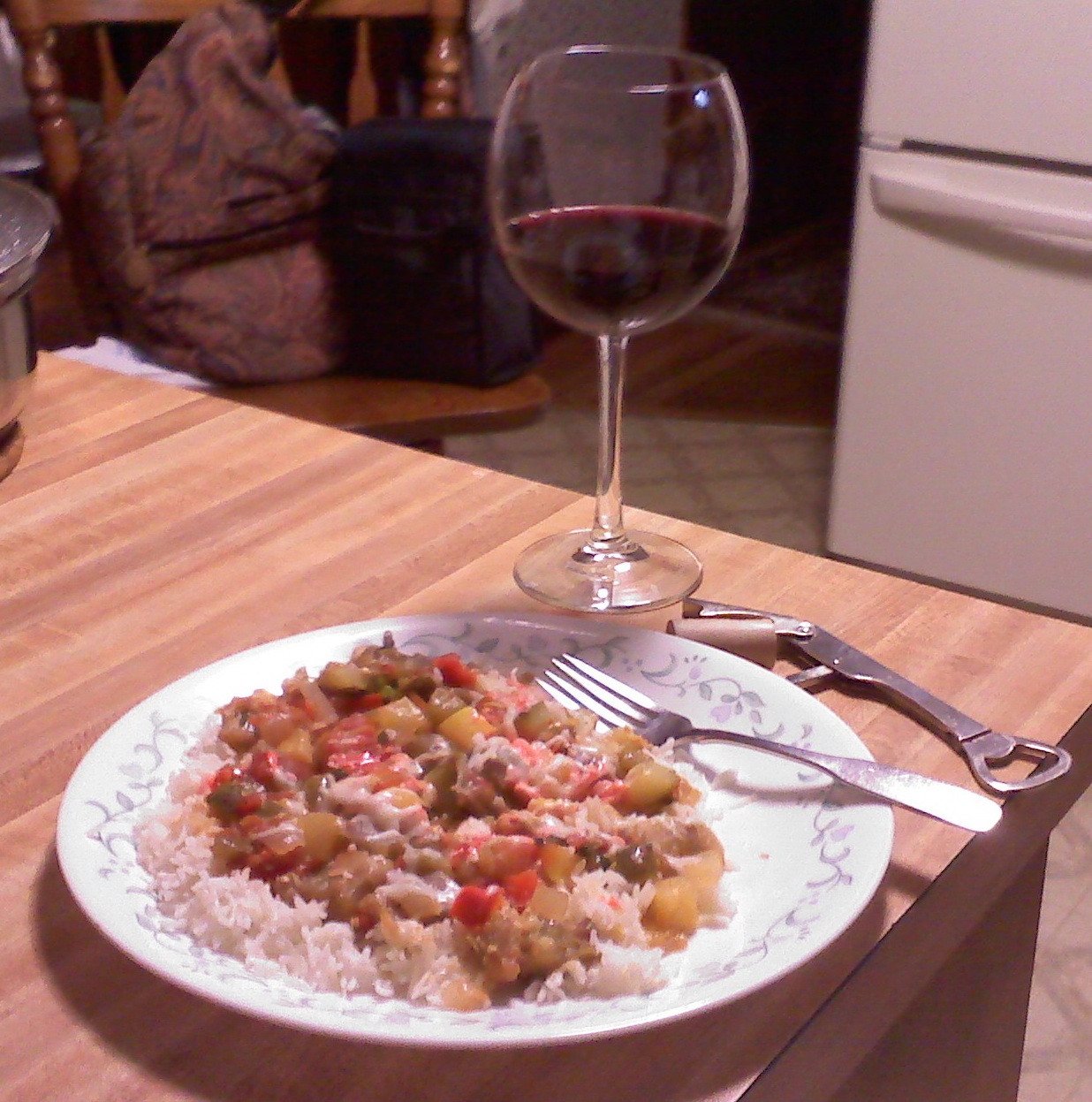 Home, Milford, NH :: White Rice, Ratatouille [ egg plant, zucchini, tomatoes, peppers, onion, garlic, basil, cheese, and a little Love ], Bully Hill Red Wine