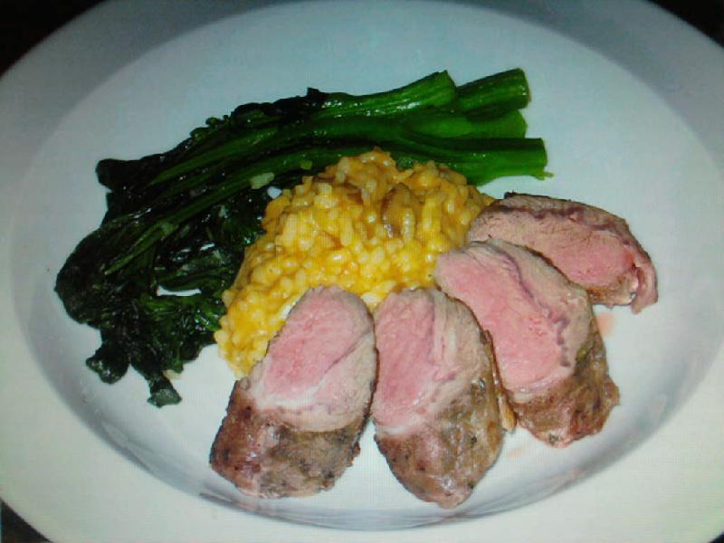 eastern ct :: here's something filling for this cold rainy day in new england. roasted lamb loin with pumpkin risotto and broccoli rabe