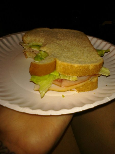 ALLENTOWN,PA :: honey turkey ham,white American chz ,lettuce,and olive oil mayo on wheat.