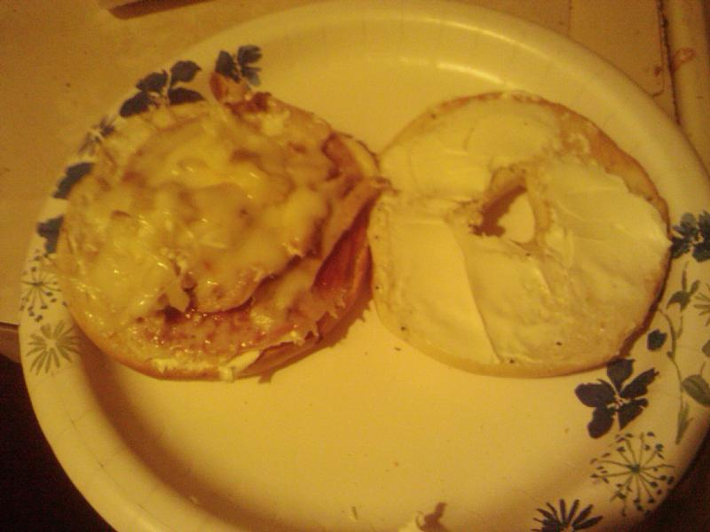 vancouver, wa :: came home drunk and starving... and this was the result. a toasted onion bagel with cream cheese and then salami and leftover turkey smothered in melted provolone cheese