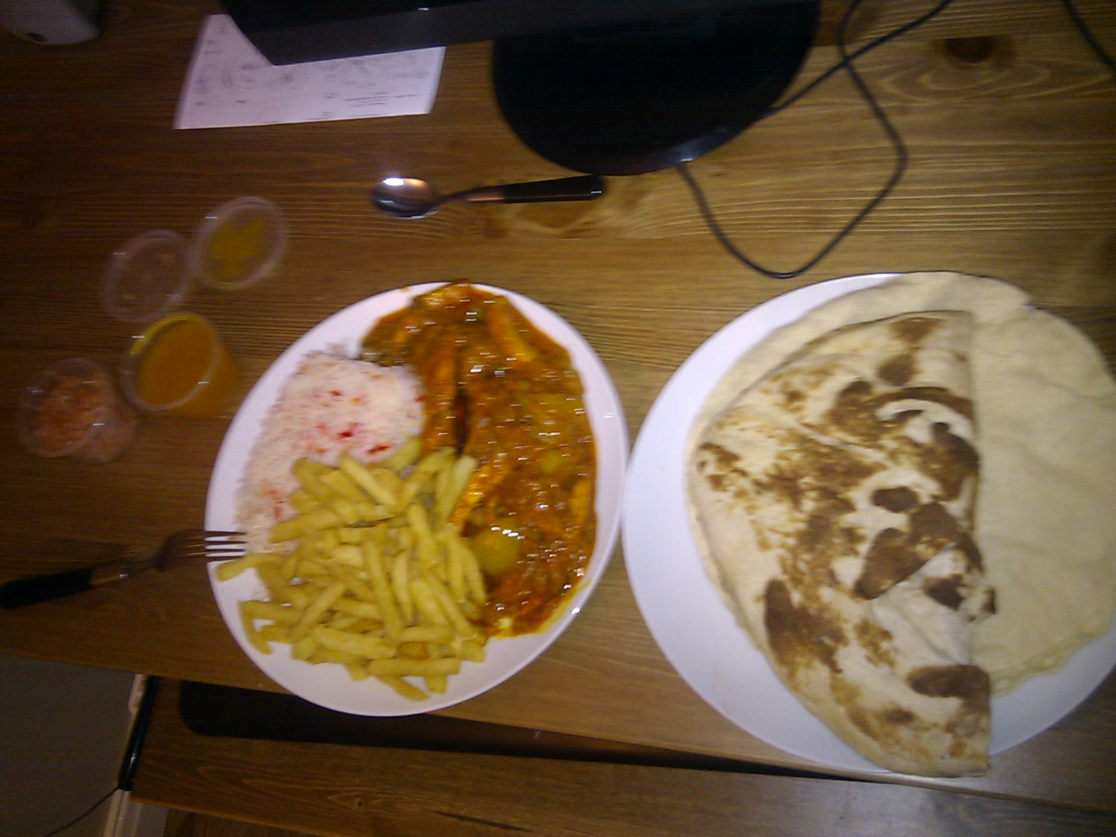 manchester, uk :: can never say no to a good curry. chicken dansak with pilau rice an garlic naan mmmm