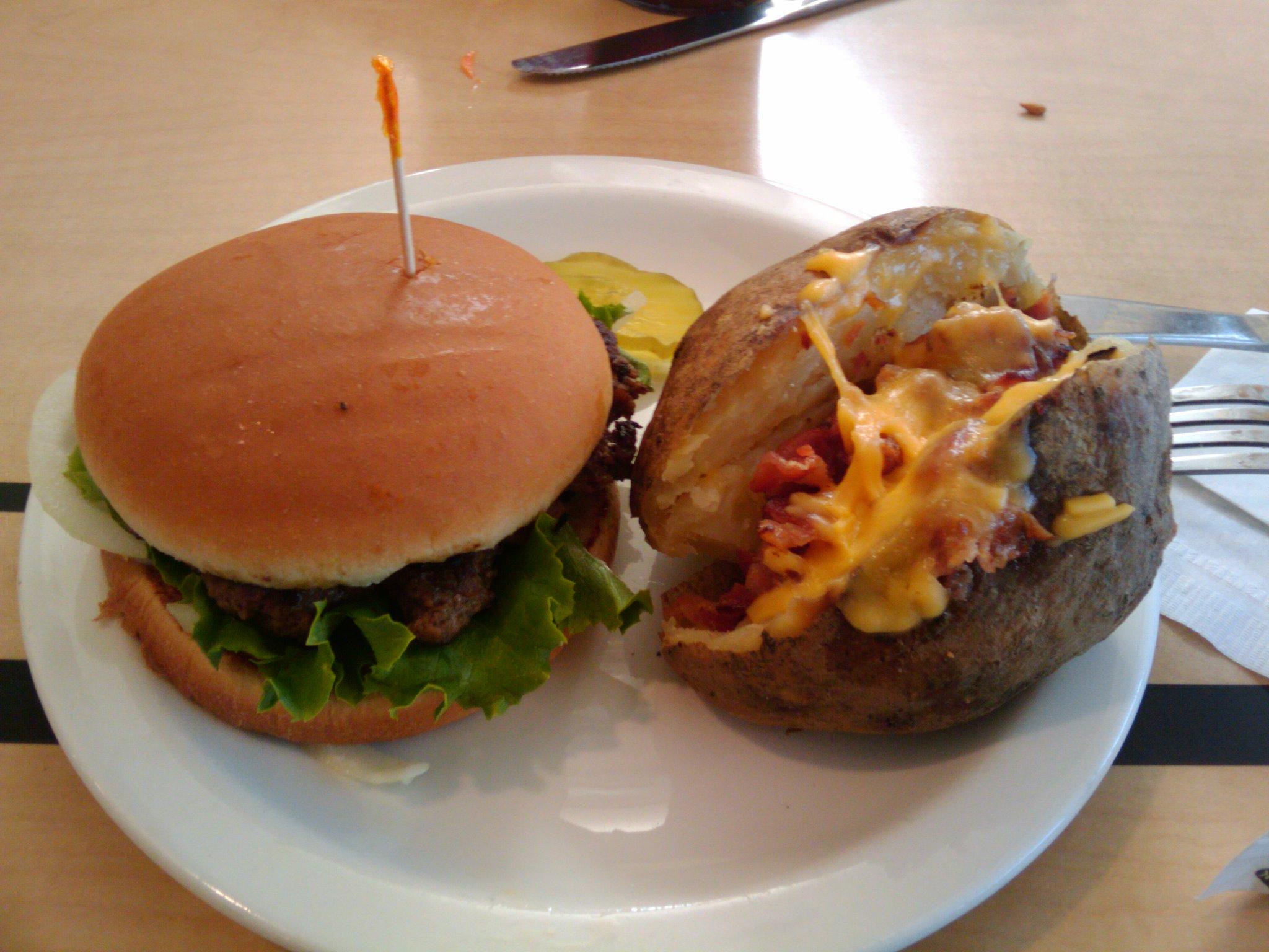 Atlanta, ga :: Burger and a loaded baked potato...from chick fill a