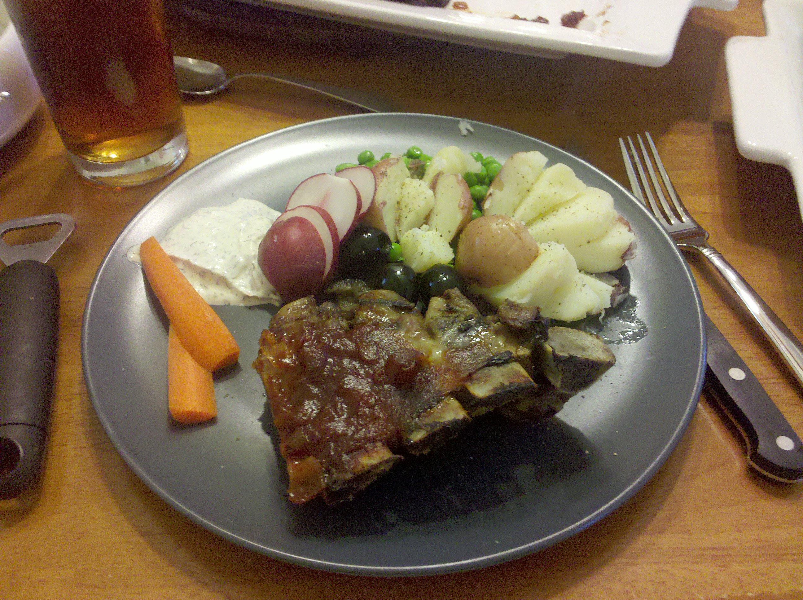 Greenbelt, MD :: Pork Ribs with Secret Sauce, Farmers Market New Potatoes with Fresh Peas, Fresh Vegetables.