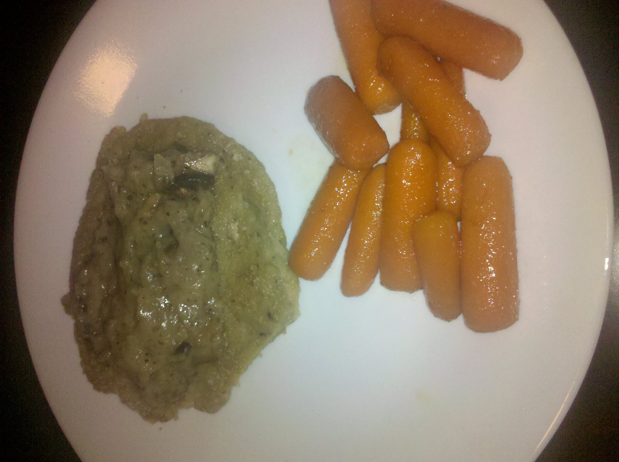 Houston tx :: homemade seitan chops with vegan savory gravy, carrots sauteed in vegan margarine and sprinkled with turbinado sugar