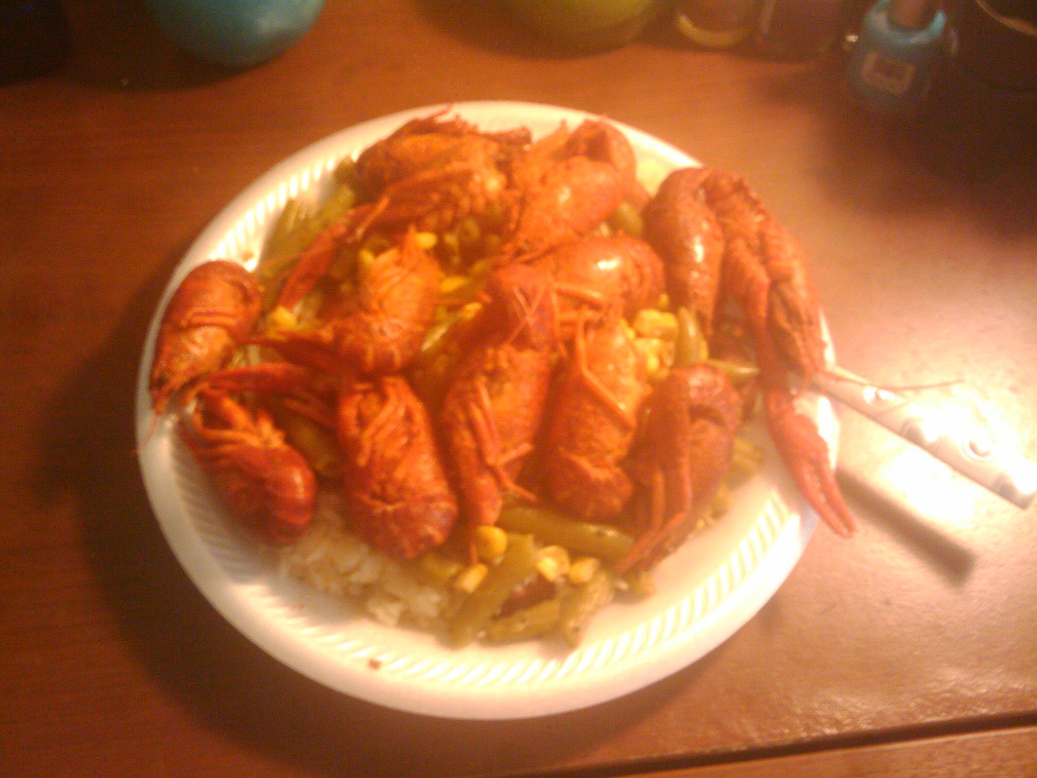 my house :: crawfish rice corn greenbeans sausaga made by me yumm!!#