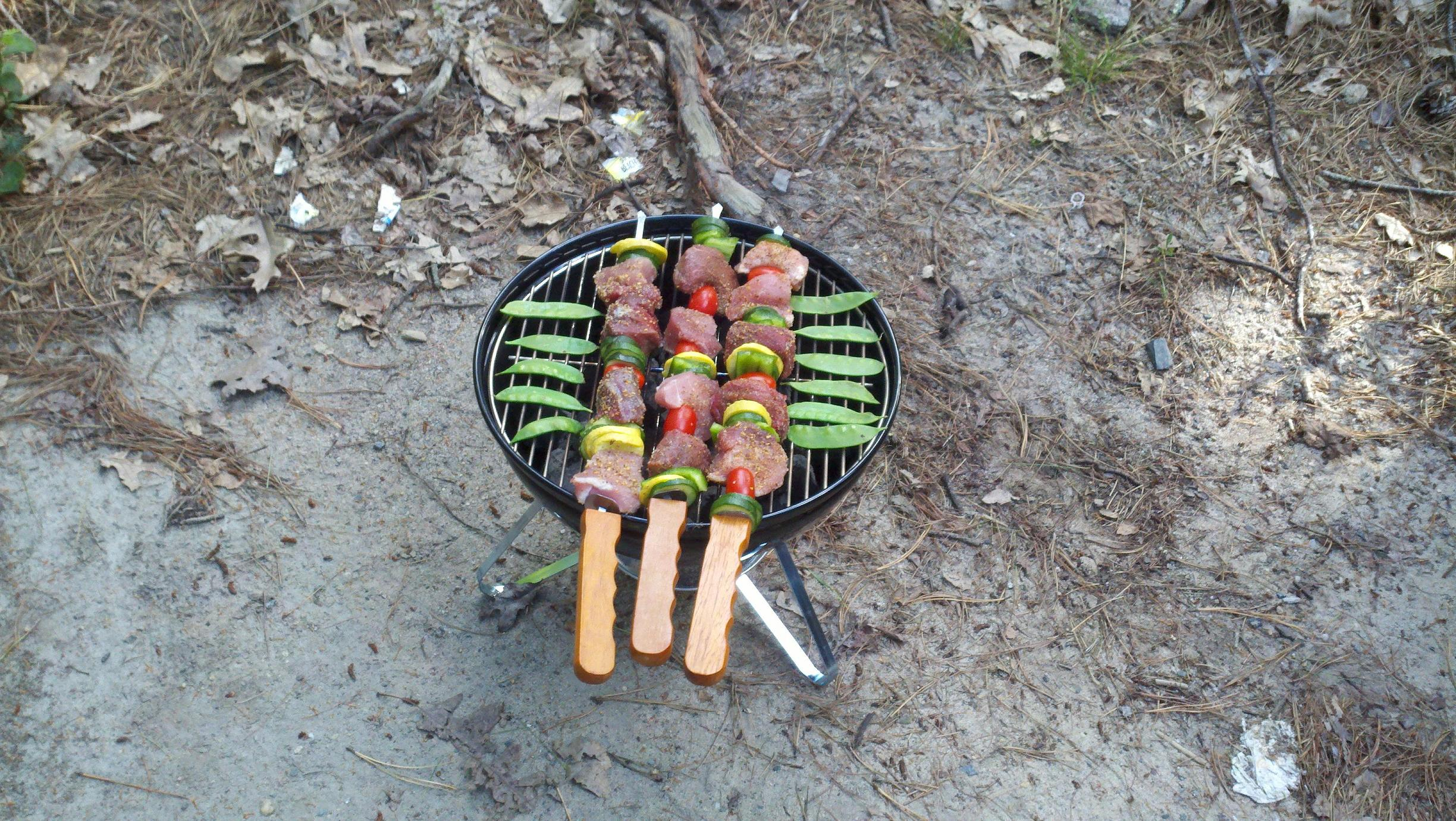 jellystone park, wareham, ma :: pork and beef kabobs with zucchini, summer squash, green peppers and tomatoes. Szeged rub on it all. throw some snow peas on the grill for garnish and.. viola!