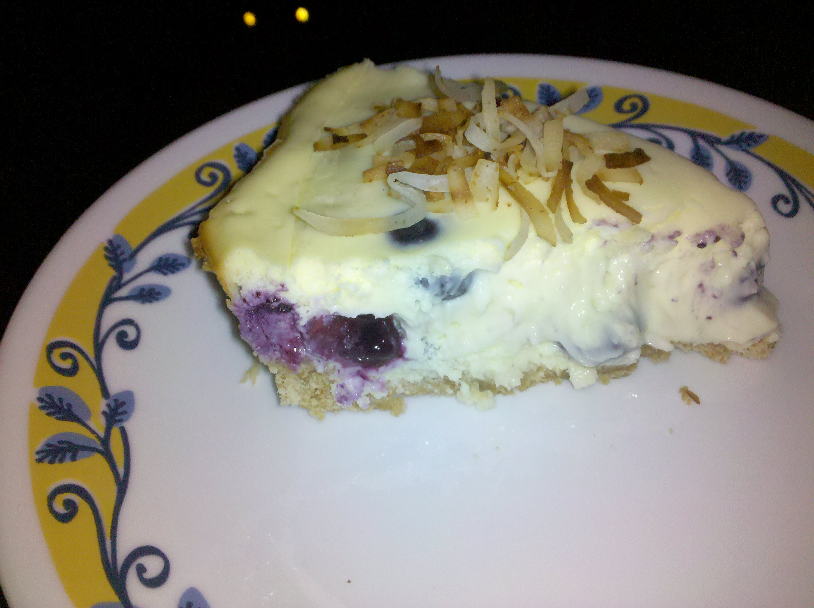 my home  :: blueberry coconut cream cheesecake topped with toasted coconut. this was so creamy cool such a nice treat for these hot hot summer days we've been having