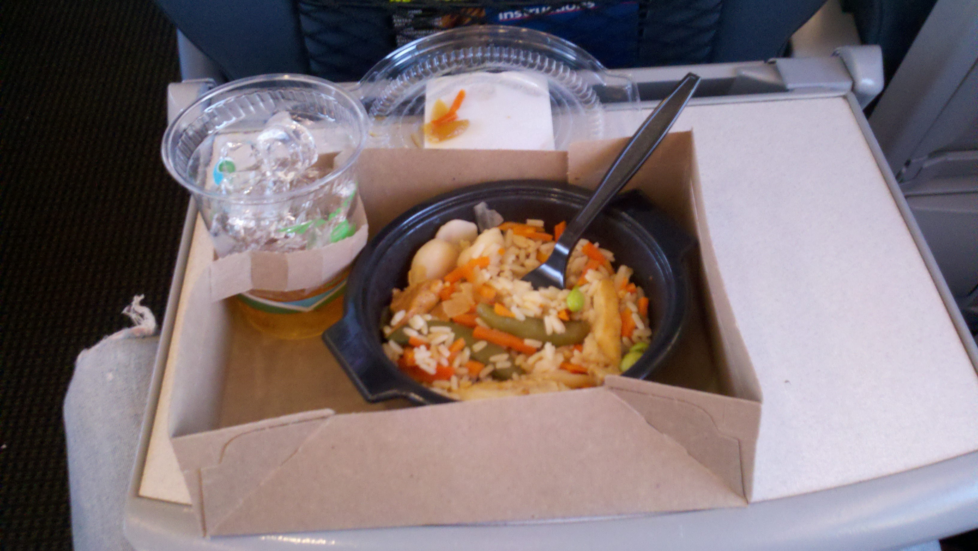 bussiness express accela bos to nyc :: teriyaki chicken rice bowl &  sailor jerry on the rocks