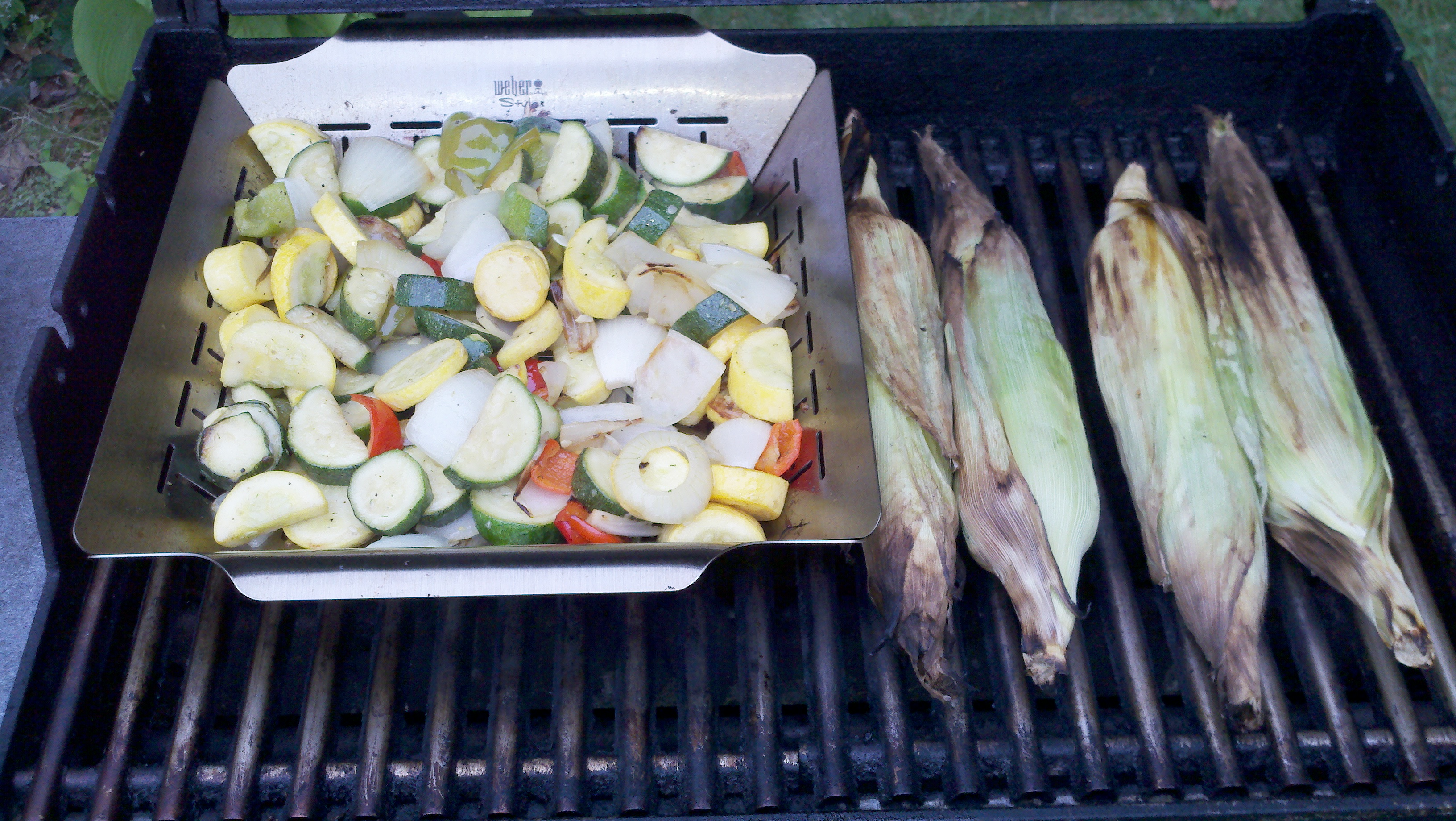 Milford NH :: grilled veggies: green and yellow squash, red and green peppers, white onions; yellow and white sweet corn; chicken and sausage after veggies were done; all tasted great.
