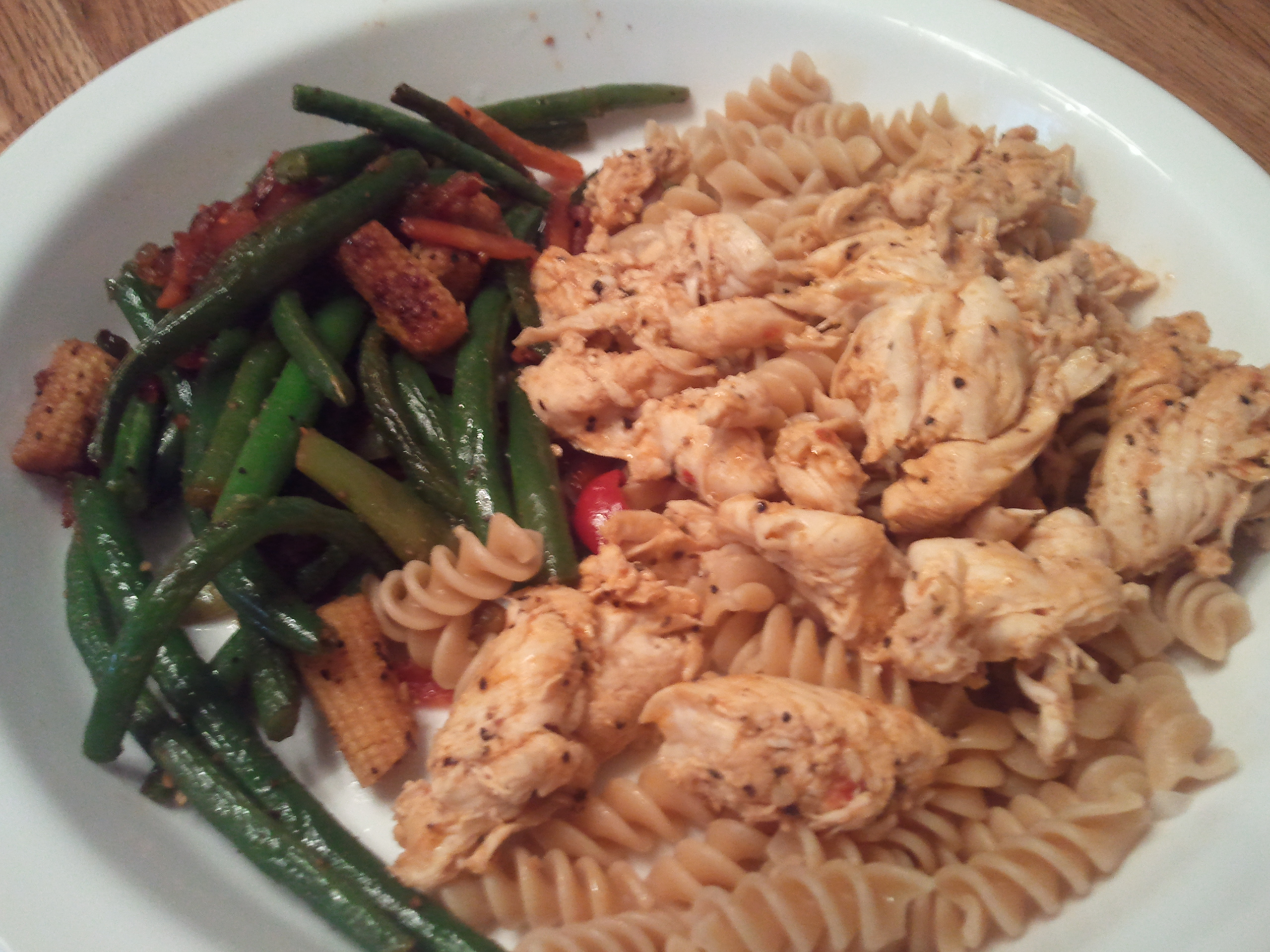 Wichita :: Chicken over noodles, with asian style green beans