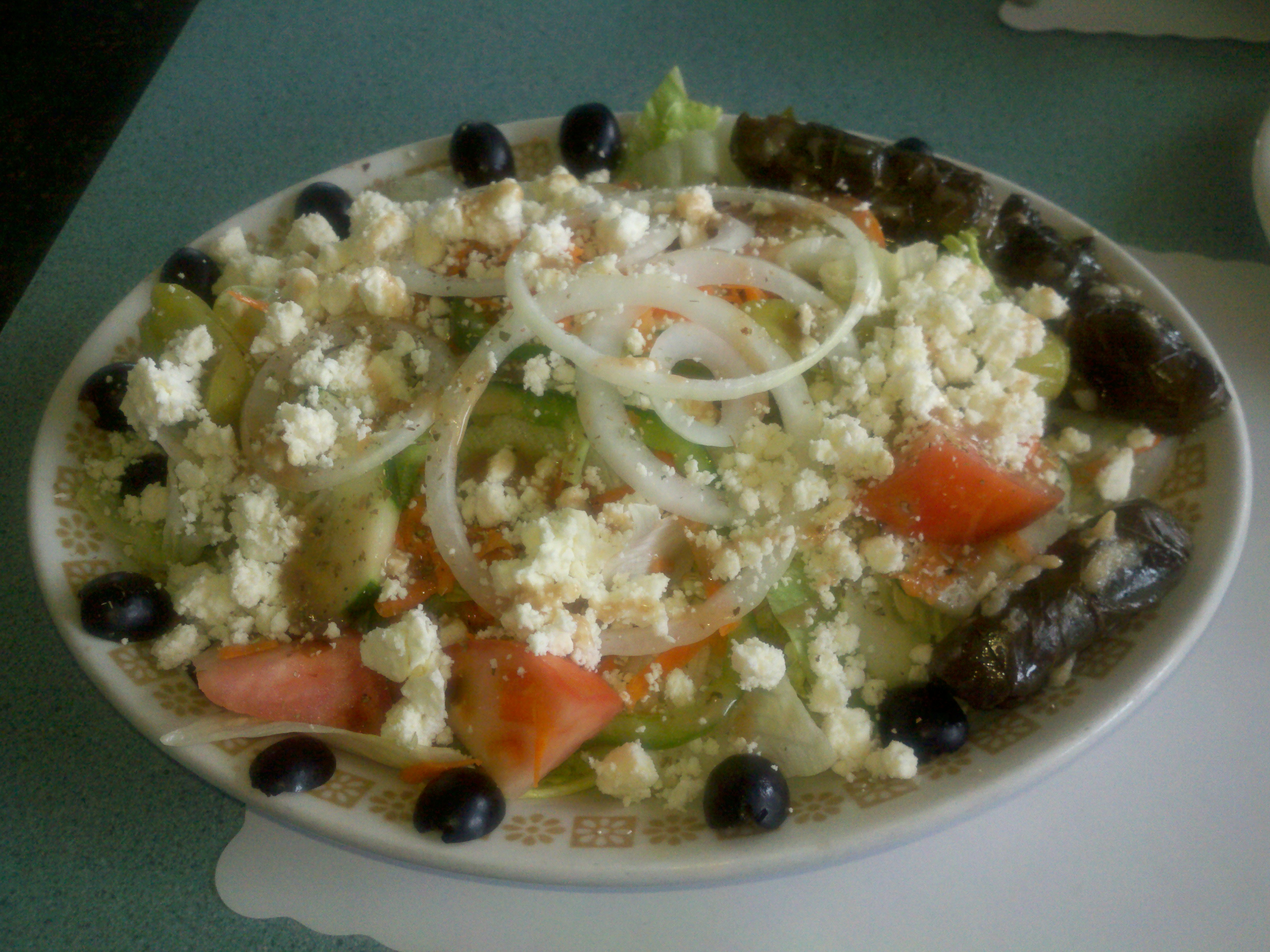 Olympia Diner, New Britain, CT :: Greek Salad with Stuffed Grape Leaves