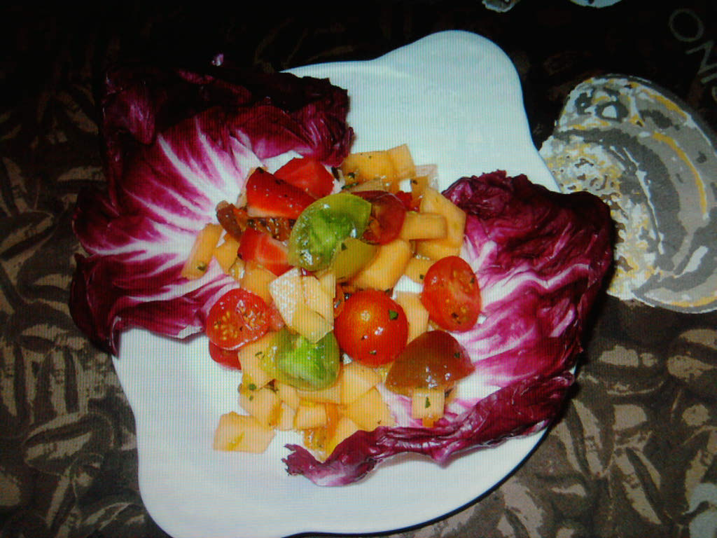 eastern ct.  :: mixed fruit and grape tomatos with a kumquat vinaigrette over radicchio