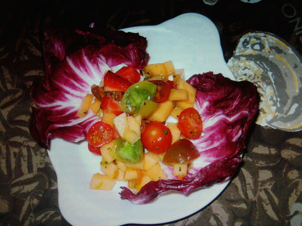 eastern ct.  :: mixed fruit and grape tomatos with a kumquat vinaigrette over radicchio