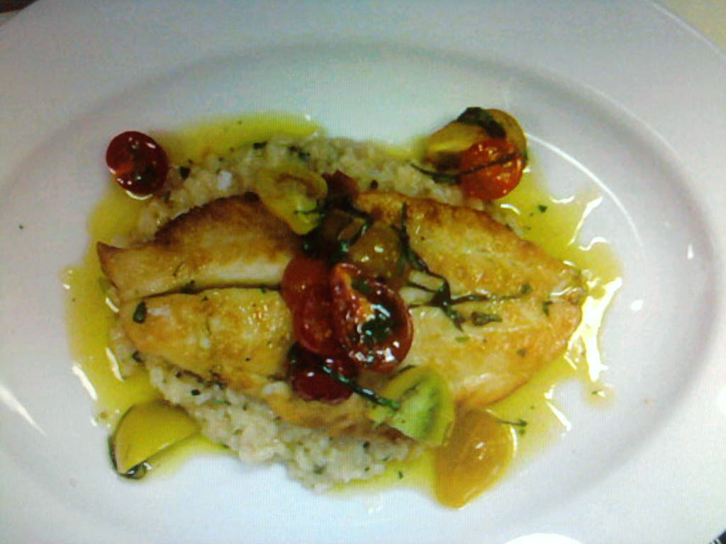 eastern ct :: pan seared flounder over a lemon basil risotto with heirloom grape tomatos and lemon infused oil