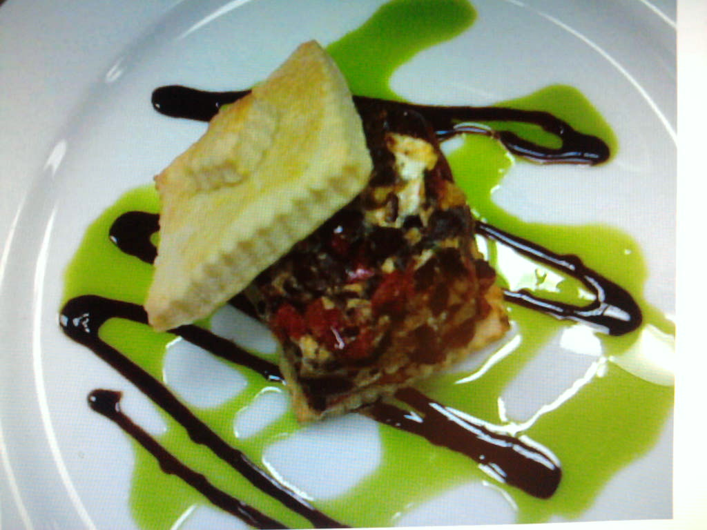 eastern ct.  :: roasted heirloom peppers with boursin cheese on a creme fraiche tart with balsamic reduction and chive oil