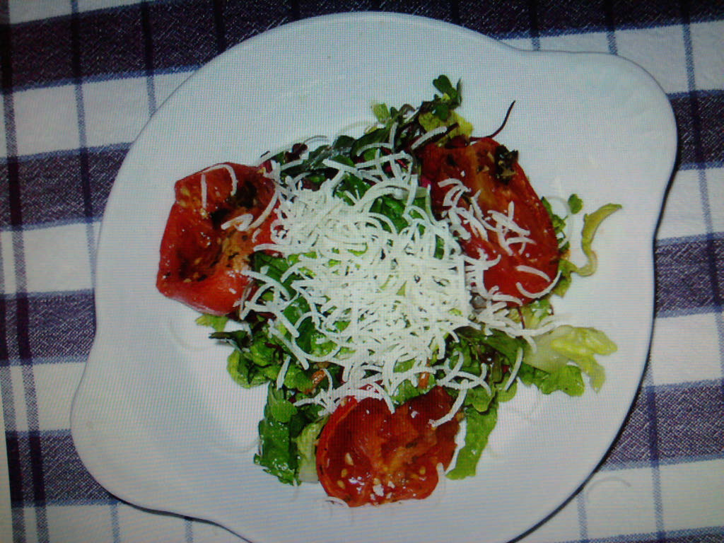 eastern ct :: micro green salad with heirloom tomatos and ricotta salata