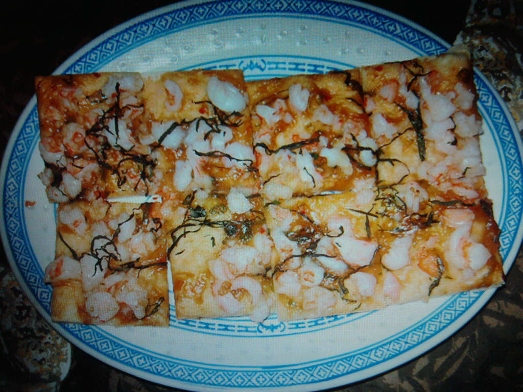 eastern ct.  :: my take on chinese italian fusion. its a pizza with hoisen and sweet chili sauce with basil and shrimp. came out very good.