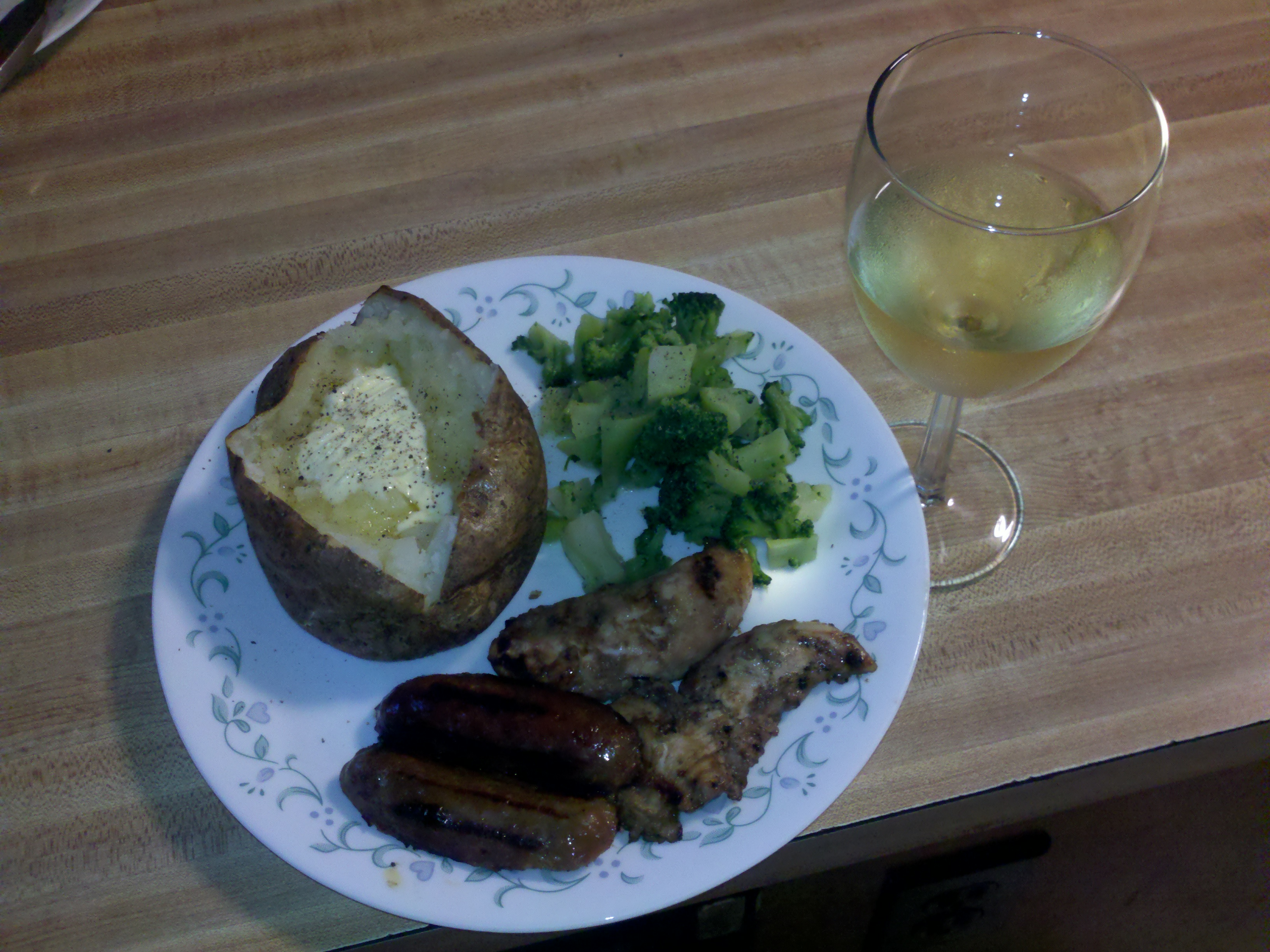 Milford, NH  :: Grilled chicken, sausage, baked potato, veggies, white wine