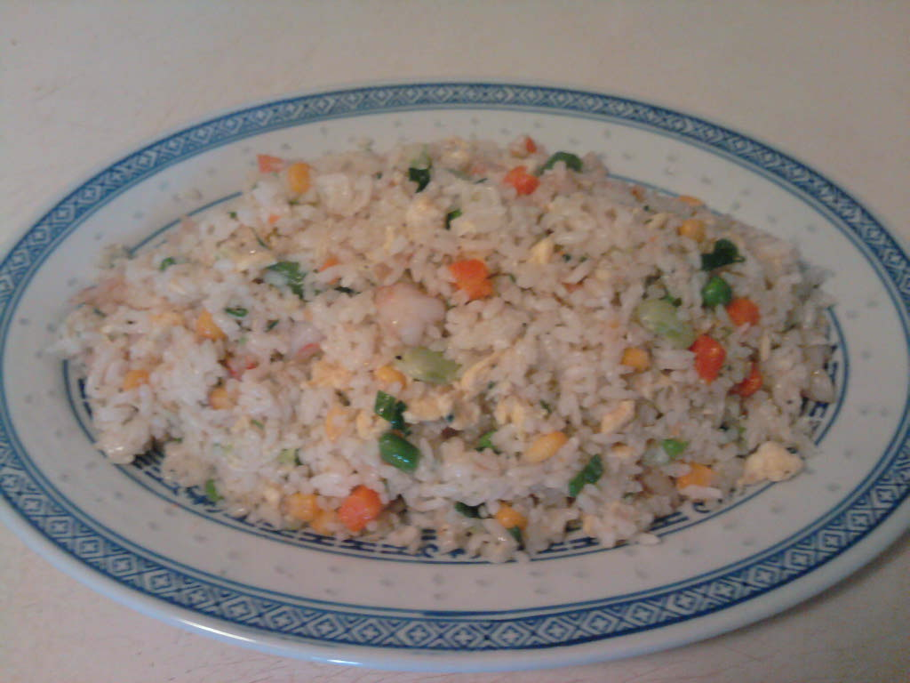 """eastern ct :: homemade version of """"yang zhou chow fan"""". shrimp fried rice from shanghai region of china."""