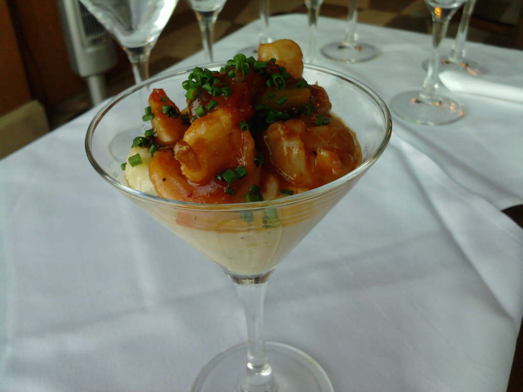 eastern ct :: better angle of spicy sweet shrimp over buttered grits