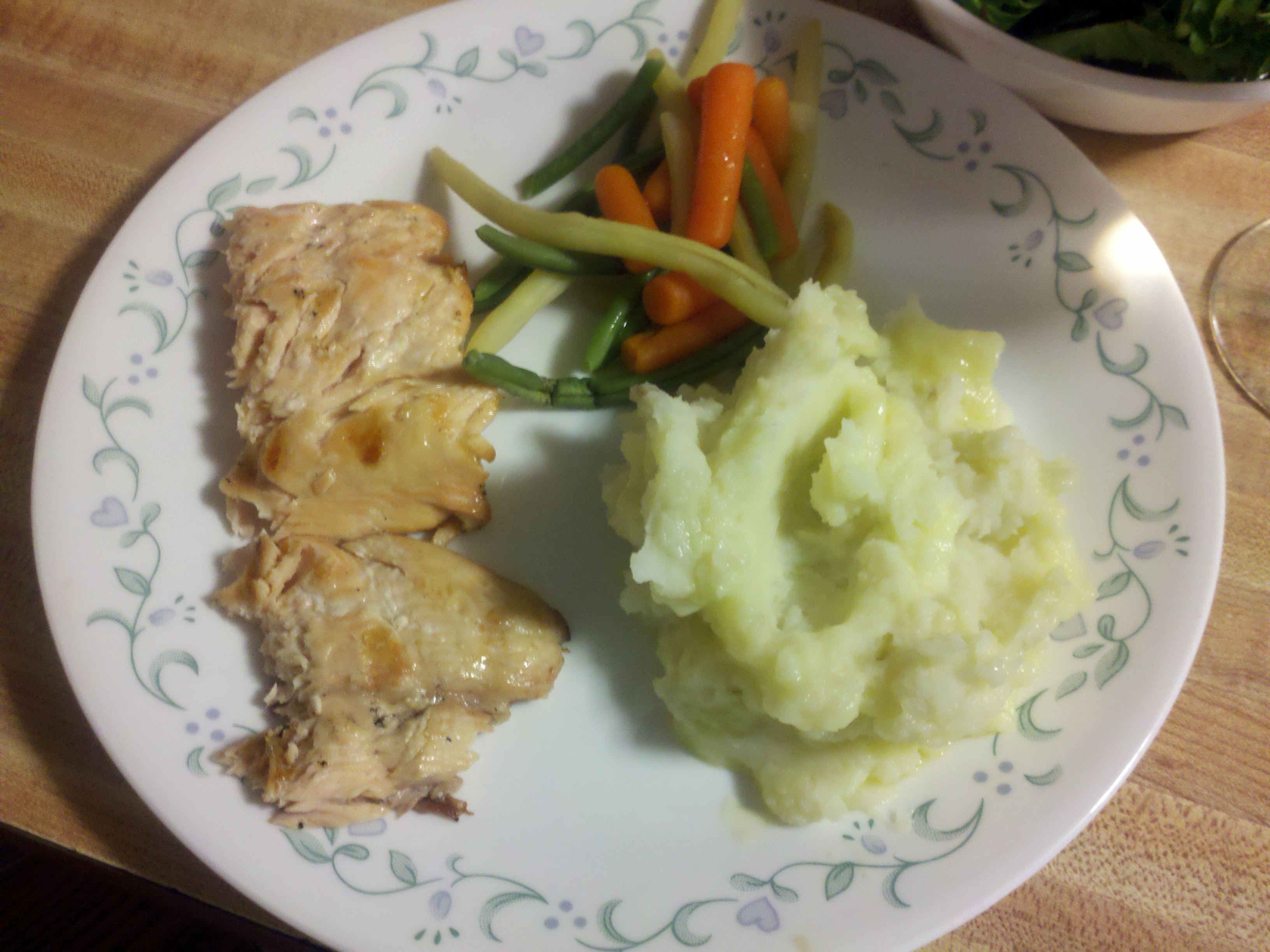 Milford,  NH :: salmon on the grill, mashed potatoes,  beans and carrots, salad, and white wine.