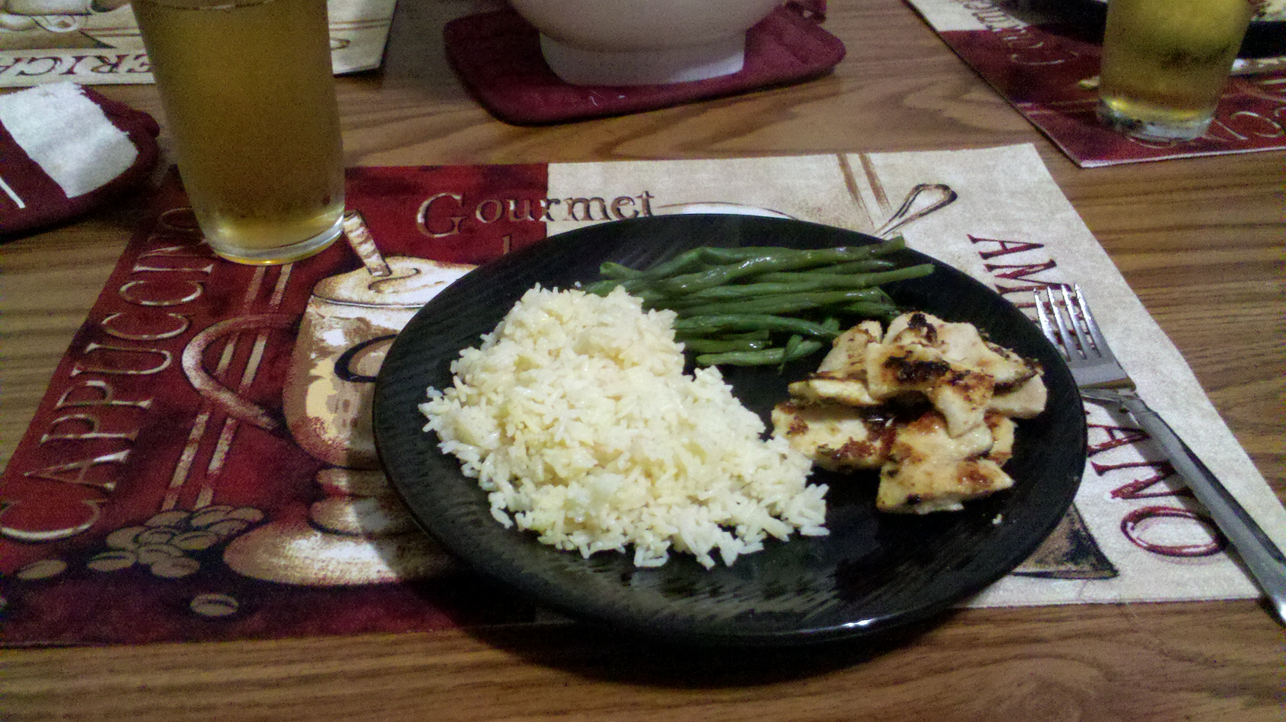 new britain, CT  :: just some yummy rice,homemeade garlic chicken and steamed greenbeans I made last night for dinner