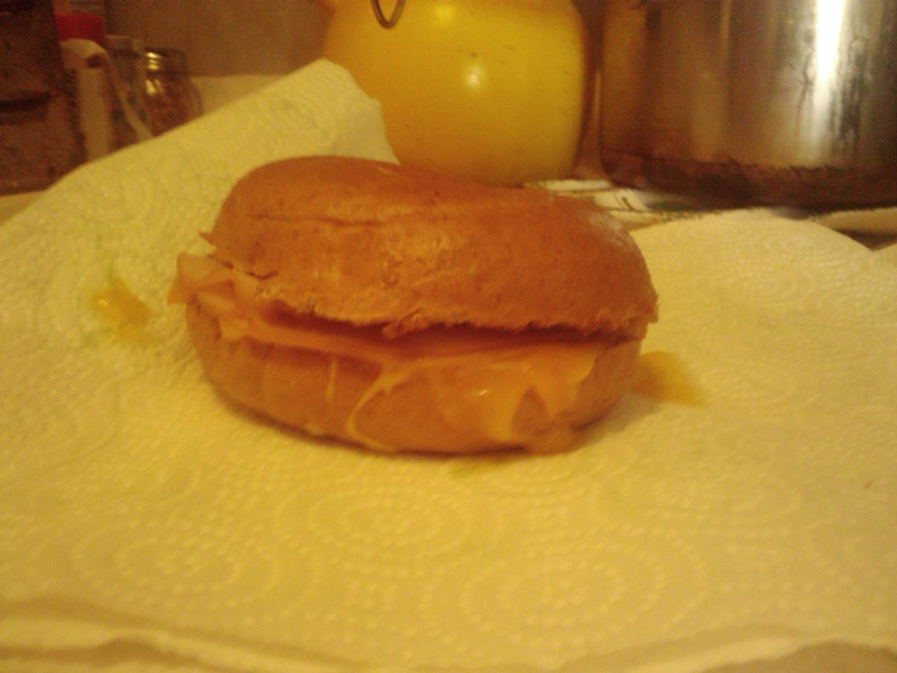 Vancouver, WA :: Breakfast bagel :) cheddar cheese, honey smoked turkey, on a wheat bun