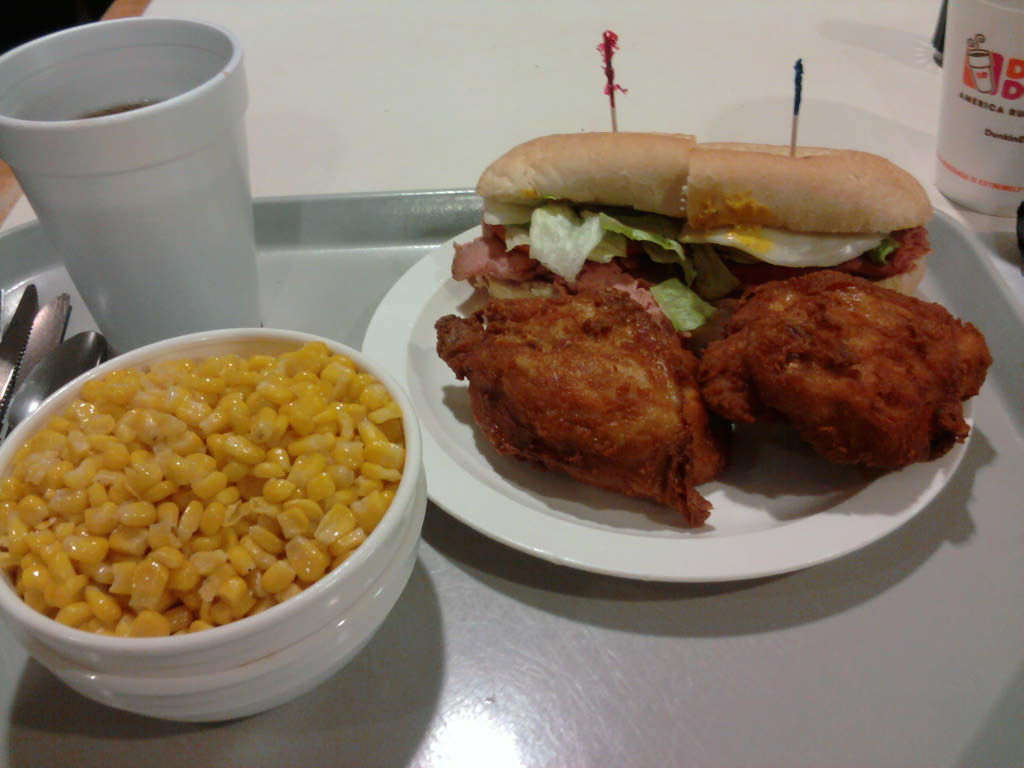 eastern ct :: my lunch. fried chix roased corn and roast beef grinder.