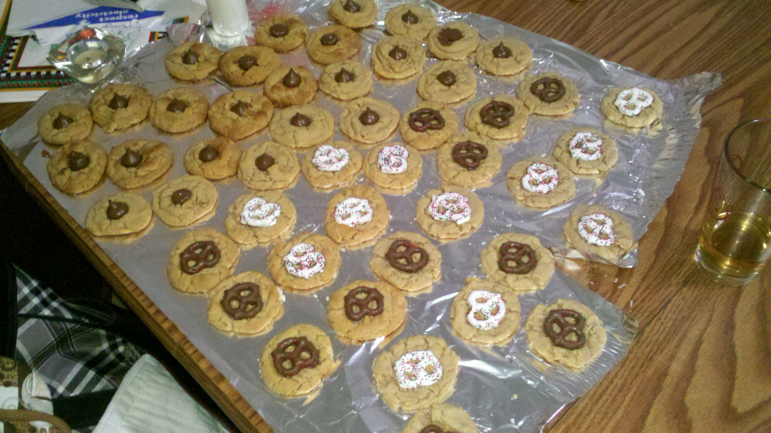 new britain ct :: peanut butter cookies with kisses and pretzels on top