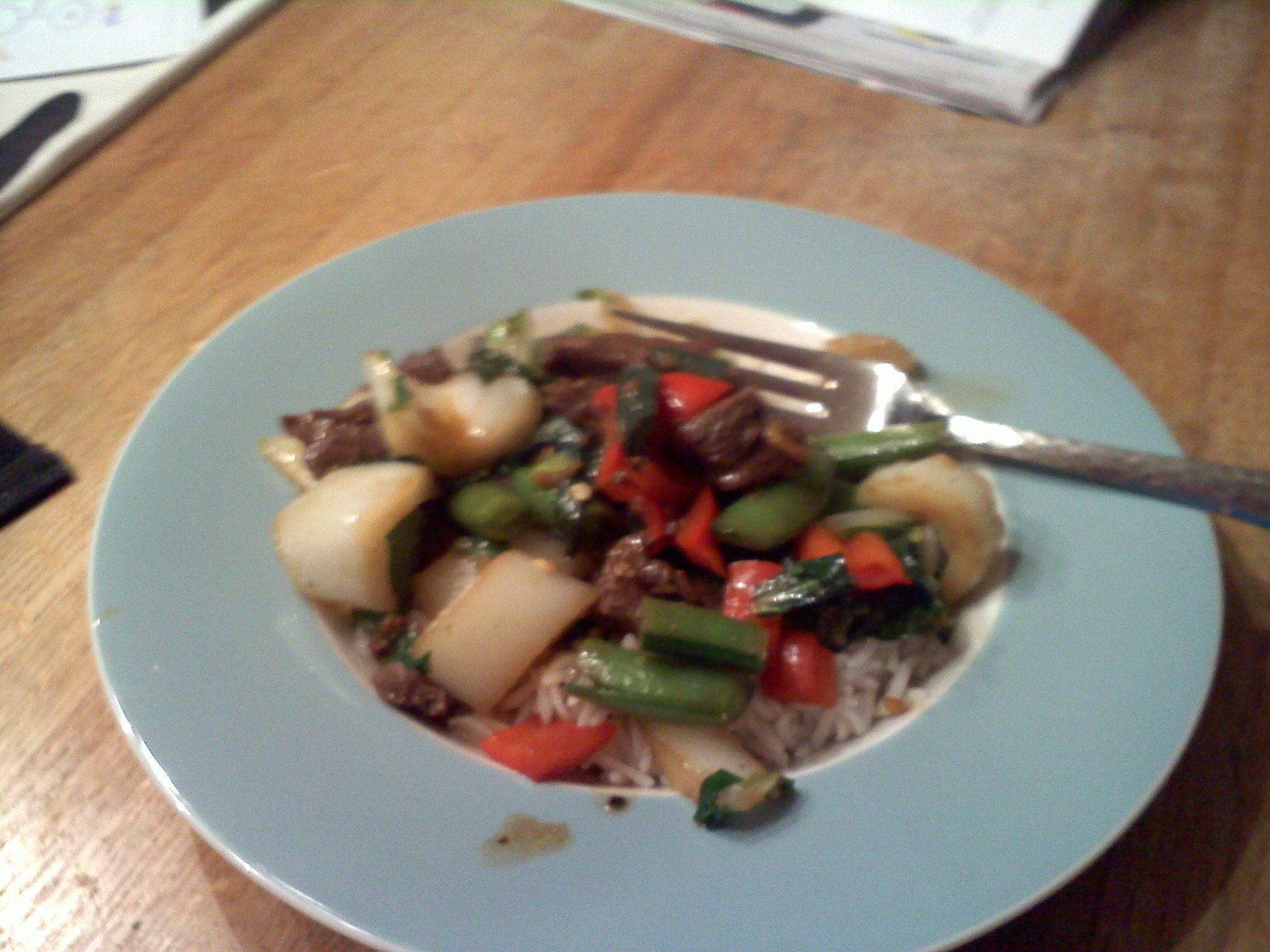 USA :: steak and rice with snow peas and red peppers!