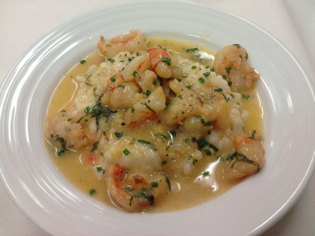 eastern ct :: shrimp scampi over lemon zest risotto