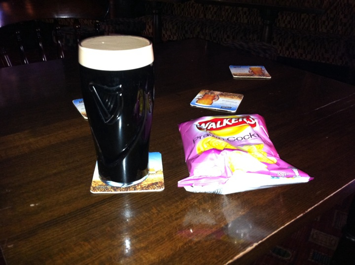 Swan Hotel, Wilmslow, Cheshire, England :: Guiness and a packet of Prawn cocktail crisps! Yum!!!