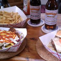 Texas burgers with fries and cream soda and birch beer soda
