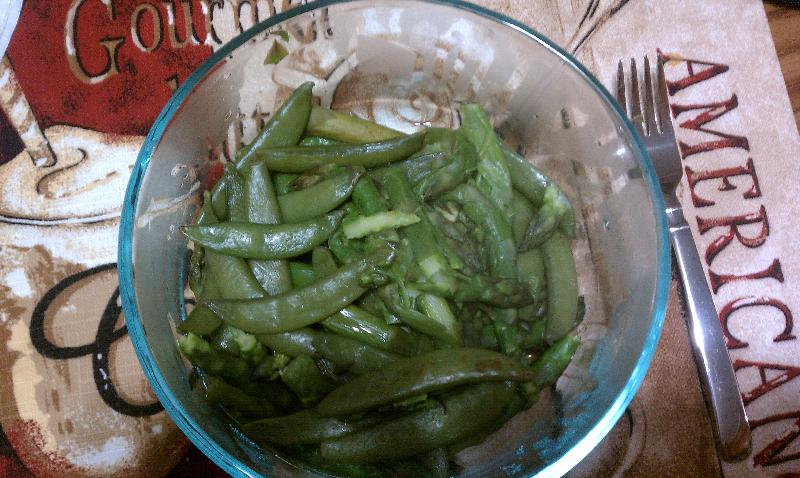 new britain CT :: asparagus and snow peas. all steamed together with some salt. Yum