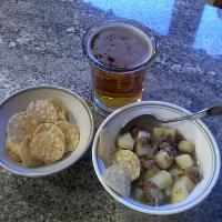 Happy Cinco De Mayo Day Dinner: Caldito - Beef and Potato Soup, with Corn Chips, and a Beer