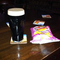 Guiness and a packet of Prawn cocktail crisps! Yum!!!