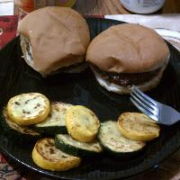 memorial day burgers with green/yellow squash
