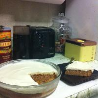 Spice cake with Sailor Jerry's cream cheese frosting, make by Kelley! Mmmmmmm.