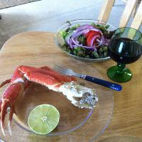 Snow crab w/ lime and garden salad. Lindemans bin.45 CabSauv