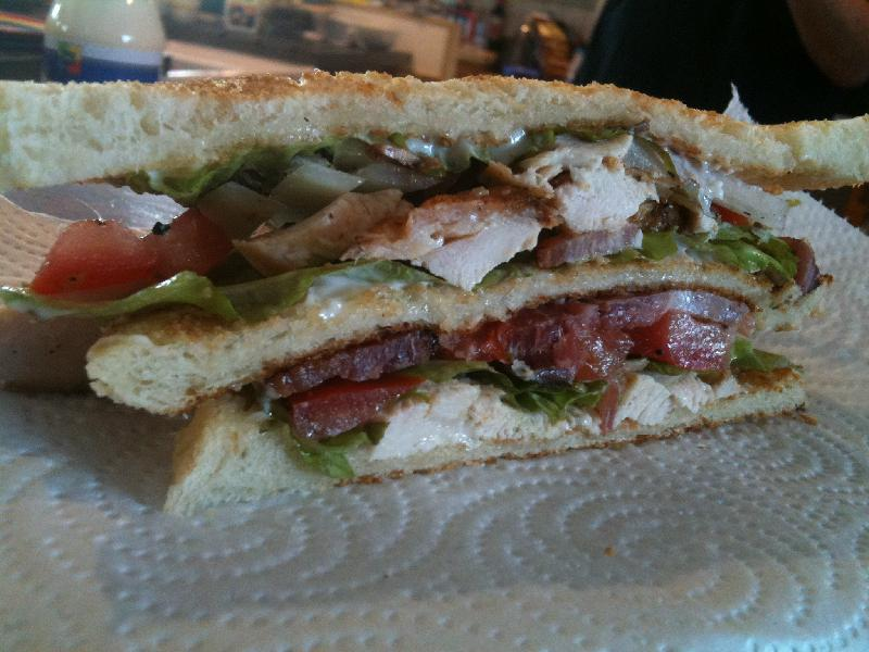 "Cape Elizabeth, Maine :: Welcome to ""Megga-Man Club-Sandwich"" - bread, bacon, chicken, mayo, tomato, onion, lettuce, salt and pepper."