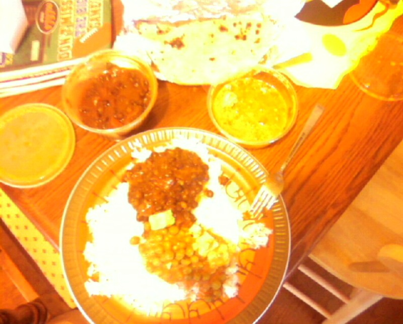 "My Kitchen (Medford, MA) :: My cell phone camera doesn't do it justice, but this is the $7 pile of yumminess you get when you order the take-out vegetarian lunch special at ""guru the caterer"" in Somerville (around the corner from Foodmaster). I'll post a new one when my camera comes home to me and i order it again!"