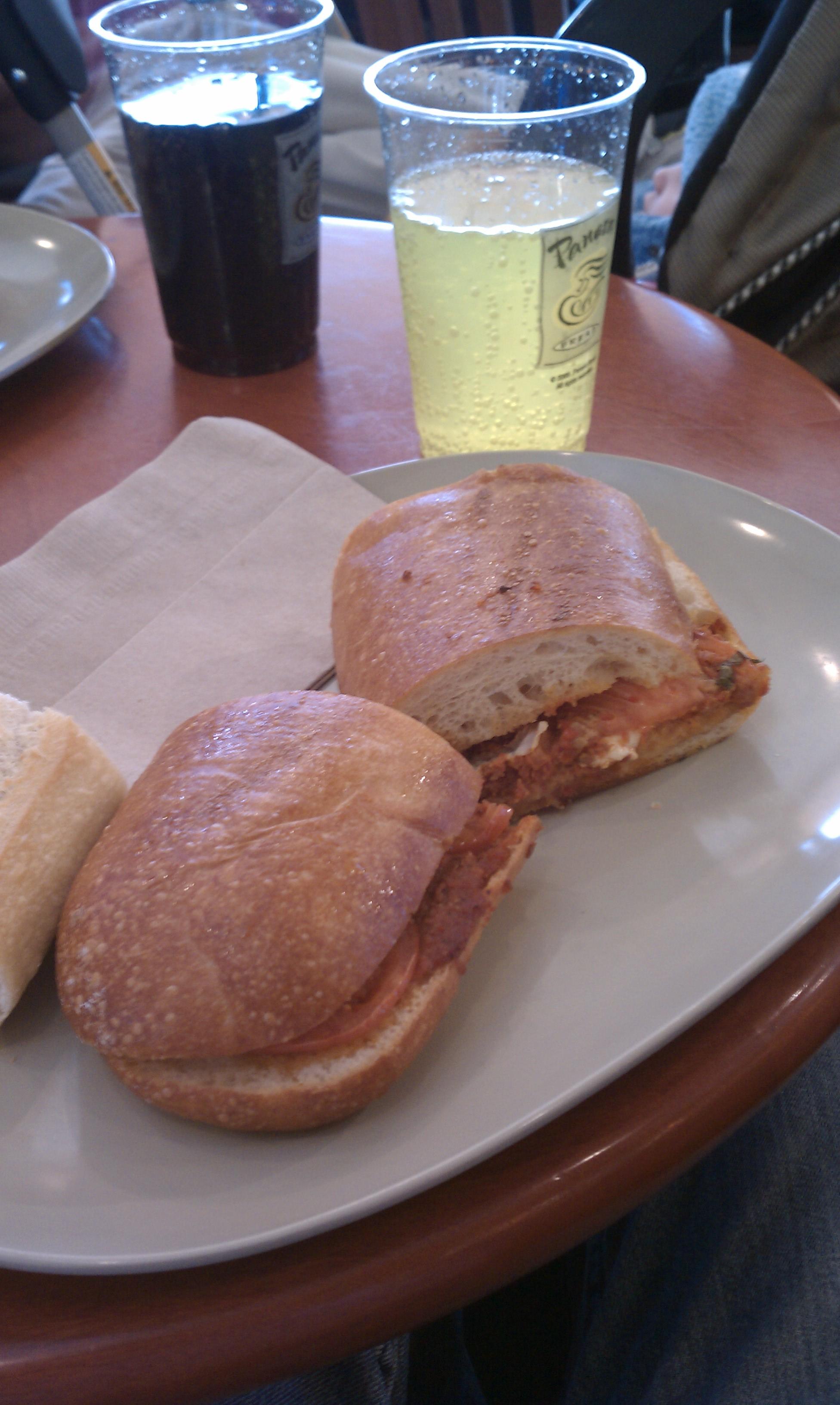 Panera bread newington ct :: tomato and mozzarella hot panini with mountain dew