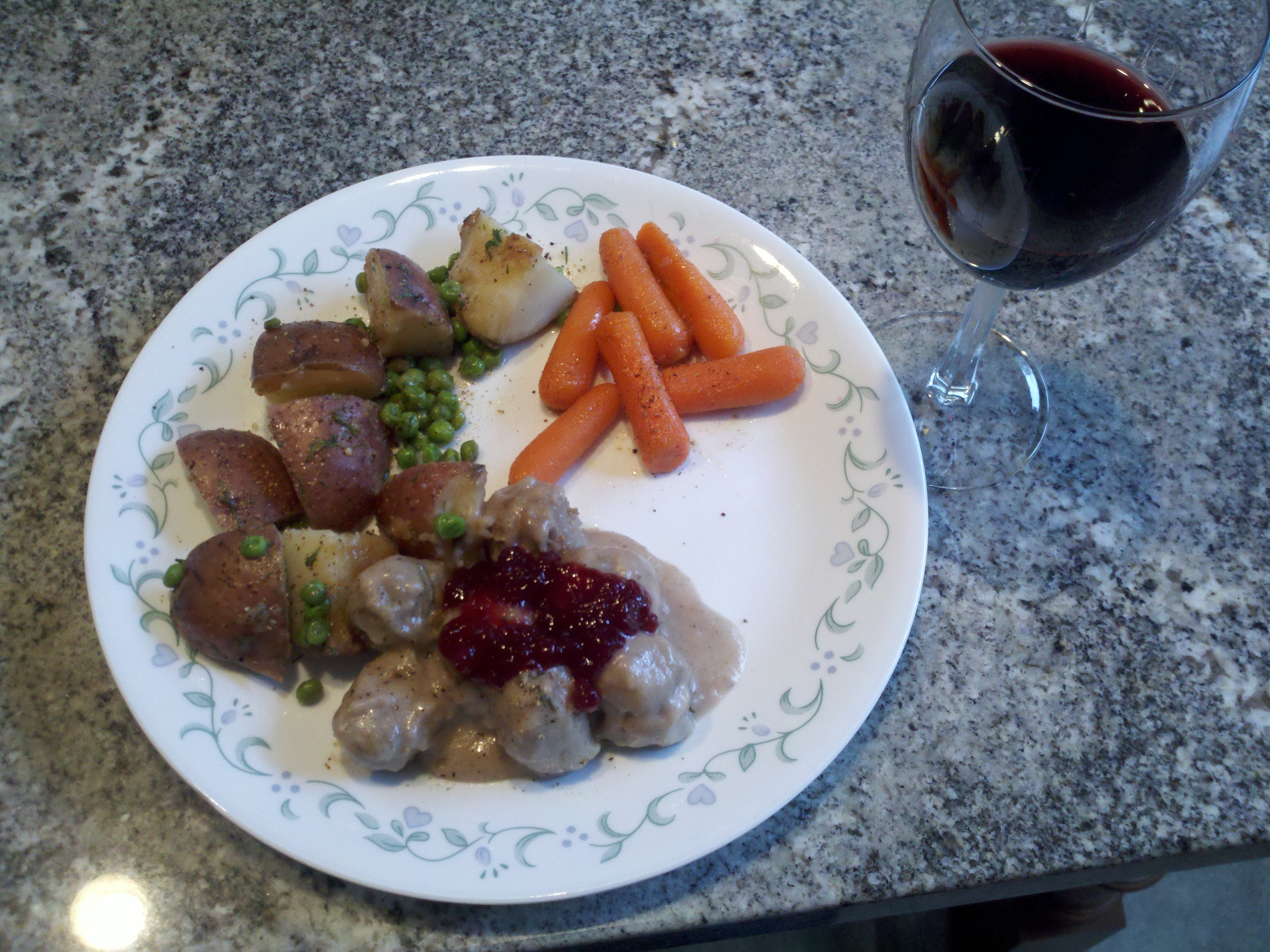Milford, NH :: Swedish meatballs with lingonberry sauce, carrots and peas, potatoes, and a glass of run wine - great meal.